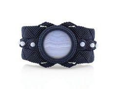 Macrame Blue Lace Agate Moustache Bracelet by InterlaceKSM on Etsy