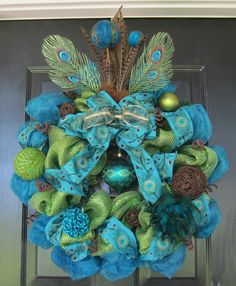 Peacock Blue and Green Deco Mesh Wreath