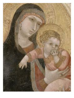 Vierge à lEnfant by Ambrogio Lorenzetti.  Ambrogio Lorenzetti (1290-1348) was an Italian painter of the Sienese school. He was active between approximately from 1317 to 1348. His elder brother was the painter Pietro Lorenzetti.His work shows the influence of Simone Martini, although more naturalistic. The earliest dated work of the Sienese painter is a Madonna and Child (1319).