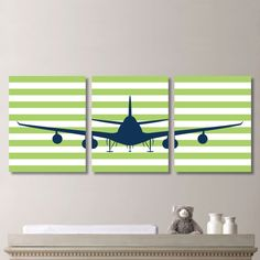 Airplane Aviation Striped Print Trio -  Home Decor Bath Nursery Boy Wings - Shown in Navy Apple Green - You Pick the Size & Colors (NS-304)
