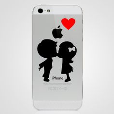 Lovers Kissing Heart iPhone 5 Sticker Decal. $2.99, via Etsy.