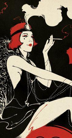 Les femmes pouvait fumer en publique mainetant! C'etait un nouvele chose parce que avant la guerre seulement les homes fumaient.