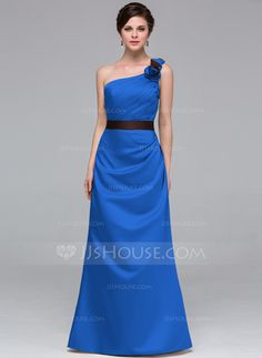 A-Line/Princess One-Shoulder Floor-Length Sash Flower(s) Zipper Up Regular Straps Sleeveless No Champagne Fall Winter General Plus Satin Bridesmaid Dress