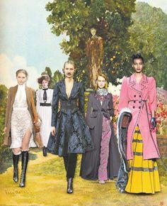 From left: Altuzarra Dress, $2,295, and Coat, $3,995, Barneys New York, 212-826-8900; Dress, made to...