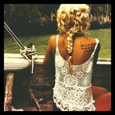 Love lace tank & tattoo on the shoulder; cute hair