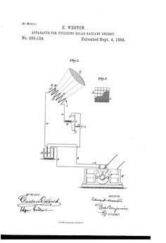 Patent US389124 - Apparatus for utilizing solar radiant energy - Sep 4, 1888