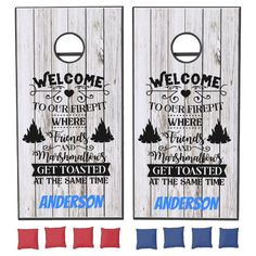 Welcome To Our Firepit Corn Hole Game - tap/click to personalize and buy #family #reunion, #rustic, #faux #wood, Diy Cornhole Boards, Cornhole Set, Funny Dares, Picnic Activities, Cornhole Designs, Yard Party, Cross Beam, Retro Campers, Corn Hole Game