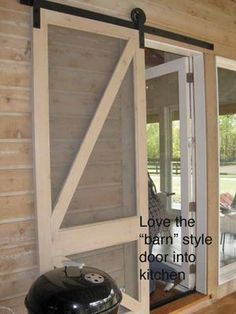great idea for screen door off back of house to porch especiallu with the french doors. I have wanted a screen door for the back for years. Farmhouse Homes, Modern Farmhouse, Farmhouse Style, Farmhouse Patio Doors, Barn Style Doors, Barn Doors, Sliding Screen Doors, Screens For French Doors, Rolling Screen Door