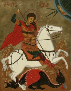 Icons by Olga Christine, of the Eastern Orthodox Tradition. View the icon gallery, learn about icons, purchase icons, request commisions and prints. Catholic Saints, Patron Saints, Patron Saint Of England, St George Flag, Saint George And The Dragon, St Georges Day, Byzantine Art, Orthodox Icons, Celestial