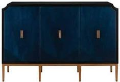 The Kallista Cabinet from Currey and Company features a dark sapphire finish juxtaposing the sycamore veneer doors.  The wood grain also plays nicely with the antique brass and glossy caviar blue black finishes.  Cabinets like the Kallista Cabinet are ideal in the living room, great room, or family room.