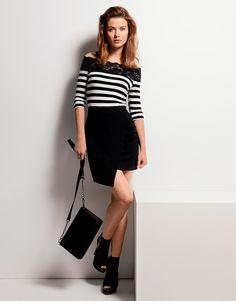Lipsy Everyday Fashion Stripe Bardot Top