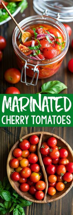 These Quick And Easy Marinated Cherry Tomatoes Are Crazy Simple To Make And Full. These Quick And Easy Marinated Cherry Tomatoes Are Crazy Simple To Make And Full Of Flavor. Appreciate Them Bruschetta-Style On Crostini, On Top Of Leafy Green Salads, And Veggie Dishes, Vegetable Recipes, Food Dishes, Vegetarian Recipes, Healthy Recipes, Vegan Vegetarian, Healthy Salads, Simple Salads, Vegetable Soups