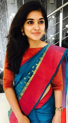 Niveda Thomas In Blue Saree Paired With Boat Neck Blouse Boat Neck Saree Blouse, Saree Blouse Neck Designs, Saree Blouse Patterns, Saree Dress, Boat Neck Designs Blouses, Saree Models, Blouse Models, Indie Girls, Moda Indiana