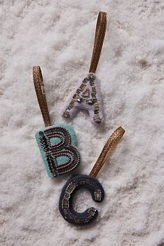 Sparkled Monogram Ornament #anthropologie