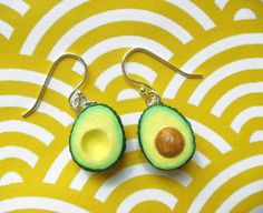 OOOOoooh, I love avocados! Food Jewelry  Avocado Earrings by kawaiiculture on Etsy, $25.00