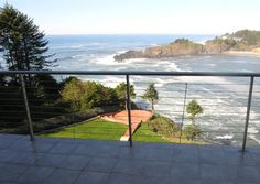 View from balcony at Whale Cove Inn in Depoe Bay, Oregon