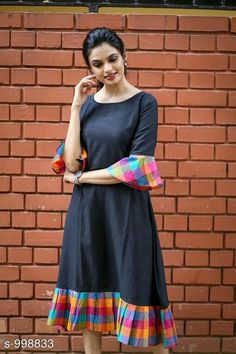 Fabric: Khadi Cotton Sleeves: Sleeves Are Included Size: (Bust) Up To 42 in (Free Size) Length: Up To 46 in Type: Semi-Stitched Fabric: Khadi Cotton Dress Neck Designs, Kurti Neck Designs, Kurta Designs Women, Kurti Designs Party Wear, Designs For Dresses, Blouse Designs, Cotton Kurtis Designs, Chudithar Neck Designs, Kurtha Designs