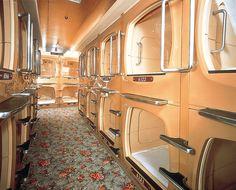Capsule Hotel--so weird, where do you put everything?! Travel light...