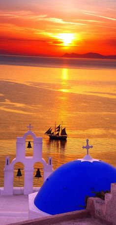 Santorini sea view sunset ~ Greece