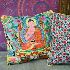 Buddha pop art pillow at Earthbound Trading Company