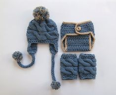 Newborn Baby Boy Outfit Hat Diaper Cover and Leg by KnittingLand