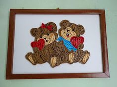 quilling macis tabló / quilled picture with teddy bears