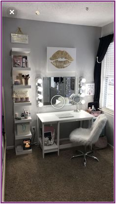 Rendering Image,Bedroom Design For Teenage - Interior Design Ideas & Home Decorating Inspiration - moercar What's the bedroom a few ideas Have you been on the be awar. Bedroom Desk, Small Room Bedroom, Trendy Bedroom, Small Rooms, Girls Bedroom, Diy Bedroom, Glam Bedroom, Bedroom Seating, Girl Rooms