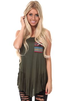 Lime Lush Boutique - Olive Fringed Top with Colorful Pocket, $29.99 (http://www.limelush.com/olive-fringed-top-with-colorful-pocket/)#beauty #trend #queen #day #us #follow #girl #dress #princess #look #lookbook #like #beautiful #cute #sexy #iphonesia