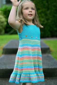 Free knitting pattern for girl's dress Shades of Summer and more dress knitting patterns for children Christmas Knitting Patterns, Baby Knitting Patterns, Baby Patterns, Girls Knitted Dress, Knit Dress, Knitting For Kids, Free Knitting, Toddler Dress, Baby Dress