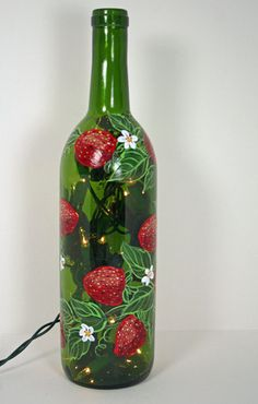 Hand Painted Wine Bottle Light With Strawberries, Green and Red, Accent Light. $22.00, via Etsy.