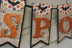 Add a fun, Spooky touch to your halloween decor with this banner!  Spooky is hand glittered in orange and sits atop pages from a vintage catalog. Black cardstock is the bottom layer and a fun polka detail is at the top of the banner. A bat at the top is a spooky touch to the banner.  You will receive one banner appx. 28 long. Each tag of the banner is appx 8x 3.75 and the letters are appx 3.5 tall.  Thanks so much for looking