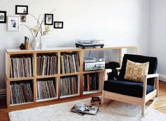 record storage and listening chair Furniture, Room, House, Interior, Home, Record Room, House Interior, Home Deco, Interior Design