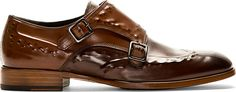 Brown Studded Monk Strap Shoes  :  Alexander McQueen