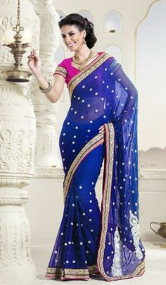 G3 Fashions Royal blue georgette designer saree  Product Code: G3-LS15310 Price: INR RS 6613
