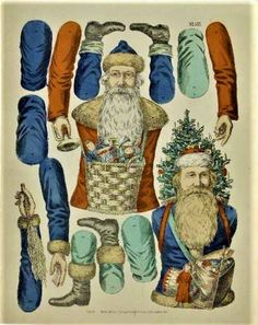 Xmas Decoration to make the same way as the Halloween Jointed Paper Doll. Noel Christmas, Victorian Christmas, Christmas Paper, Vintage Christmas, Christmas Crafts, Old Paper, Paper Art, Paper Crafts, Paper Puppets