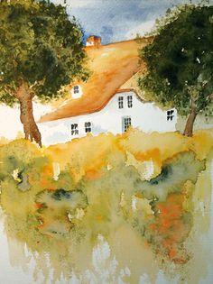 Landhaus.Idylle. Aquarell 30x40 cm