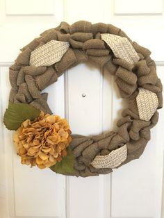 Rustic Burlap Wreath with Cream and Gold Ribbon by BellevueCreek