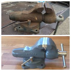 Before and after Wilton vise restoration