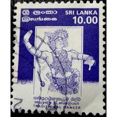 Sri Lanka, Traditional Kandyan Dancer, 10 rupees, blue 1999 used History Of Sri Lanka, Hindu Art, Rare Coins, Antique Shops, Southeast Asia, Postage Stamps, Eagles, Ephemera, Buddha