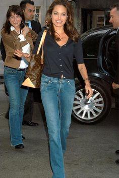 Angelina Jolie. She wears jeans.