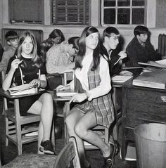 vintage everyday: Mini Skirt in School with Male Teacher of the 1970s