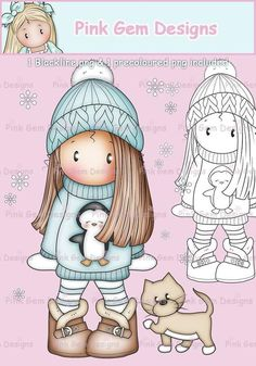 Digi Stamp 'Chloe in Penguin Jumper'. Makes Cute Christmas Cards. 1 Black Line png & 1 Pre Coloured png Included. Card Making, Scrapbooking Cute Christmas Cards, Digital Stamps, Craft Fairs, Doodle Art, Cute Drawings, Art For Kids, Coloring Pages, Card Making, Doodles
