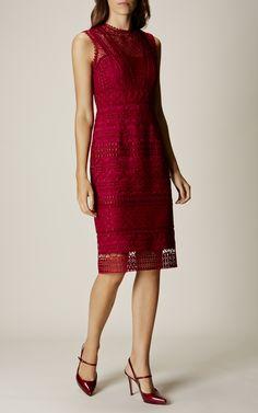 Karen Millen, GRAPHIC LACE PENCIL DRESS Pink/Multi