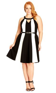 City Chic Block Stripe Dress - Women's Plus Size Fashion City Chic - City Chic Your Leading Plus Size Fashion Destination #citychic #citychiconline #newarrivals #plussize #plusfashion