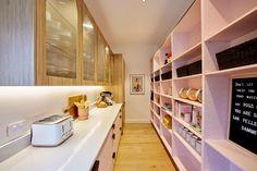 The Block 2021 kitchen room reveal photos. The Block Kitchen, Green Kitchen, Kitchen Cabinetry, Kitchen Shelves, Timber Benchtop, Shaped Windows, Island Bench, Butler Pantry, Splashback