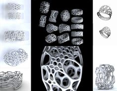 Cell Cycle is a line of 3D printed nylon and stainless steel jewelry. It is based on our interest in 3D forms, cellular patterns, and the idea of subdivision (cell splitting)