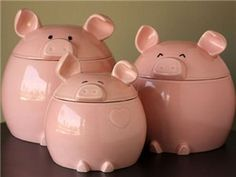 This Lil' Piggy Canister Set: Pink by Del Rey