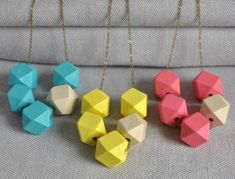 Light Pastel Geometric Cube Necklace by artysmarty, the perfect gift for Explore more unique gifts in our curated marketplace. Wooden Bead Necklaces, Wooden Beads, Arrow Necklace, Beaded Necklace, Brass Chain, Different Colors, Cube, Unique Gifts, Fashion Accessories