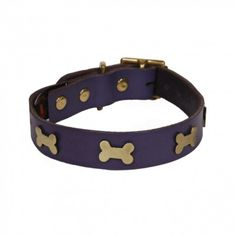 Leather Dog Collar Brass Bones Purple.  http://www.annabelchaffer.com/products/Leather-Dog-Collar-Brass-Bones-Purple.html