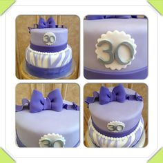 30th birthday cake. Purple, lavender, silver, zebra stripes, bow www.facebook.com/cakeitorleaveitcakesbymarianne